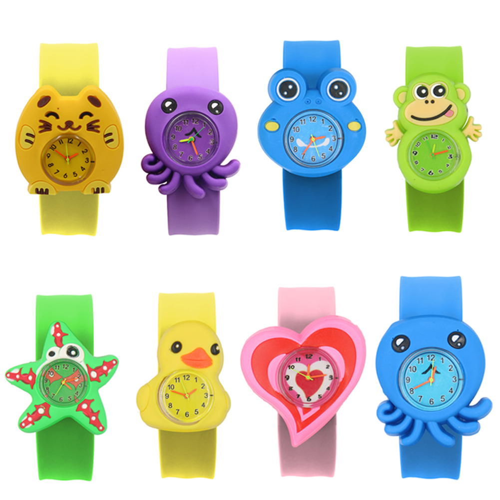 Sweet Patted Table Interesting Birthday Student Toys Children Watch Gift Cartoon Pattern Silicone Tape Wrist 3D Animal Watches