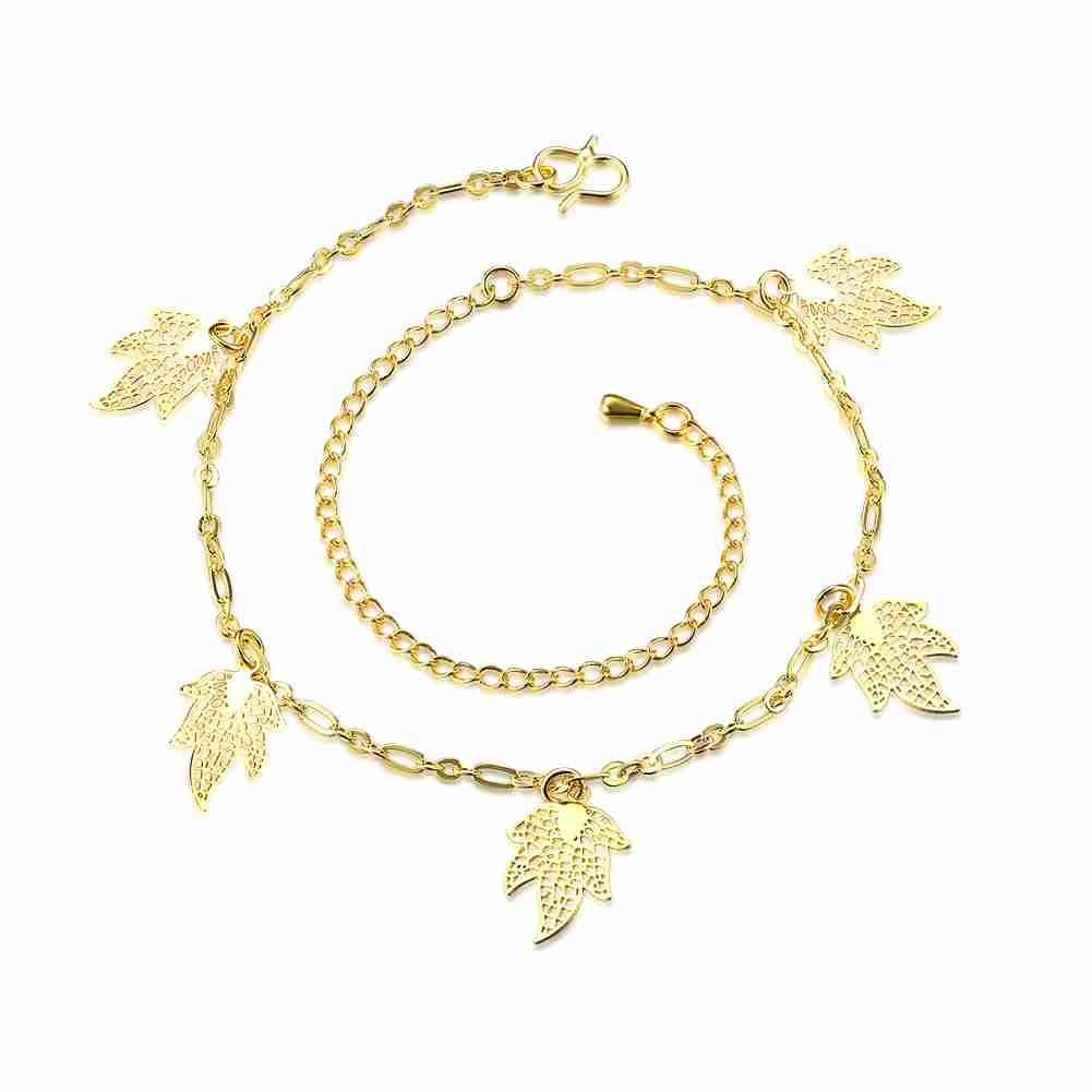 Free Shipping 2016 Lovely silver anklet leaf bracelet on ankle bone HBA017