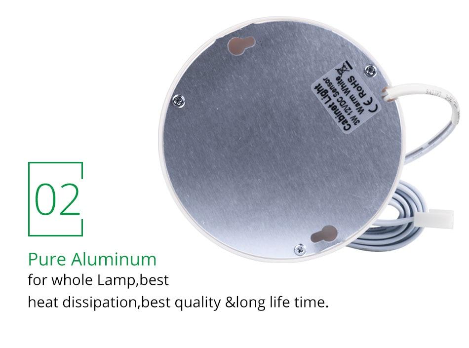 21PCS Under Cabinet Lamps 3W Motion Sensor IR Silver Round LED Puck Counter Led Lights Closet Cupboard Wardrobe Locker Lighting (10)