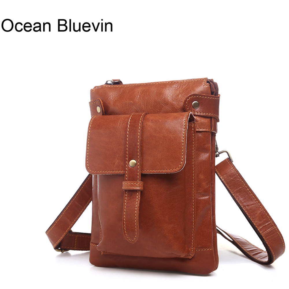 купить OCEAN BLUEVIN Genuine Leather Men Bag men messenger bags flap bag High quality Natural Cowhide Vintage Cross body shoulder bag недорого