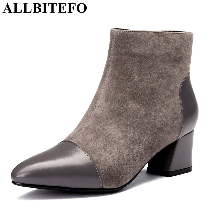 ALLBITEFO 2017 winter Nubuck leather pointed toe thick heel women boots mixed colors medium heel women boots girls boots allbitefo full genuine leather mixed colors chains design fashion brand women knee high boots winter snow zip women boots