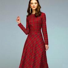 2019 womens new long-sleeved red plaid midi dress waist oversized temperament