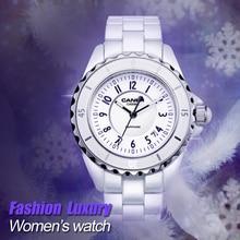 Marca de lujo relojes de Las Mujeres 2016 de la manera ocasional elegante de cerámica Blanco del cuarzo del reloj de Las Mujeres A Prueba de agua 100 m CASIMA #6702