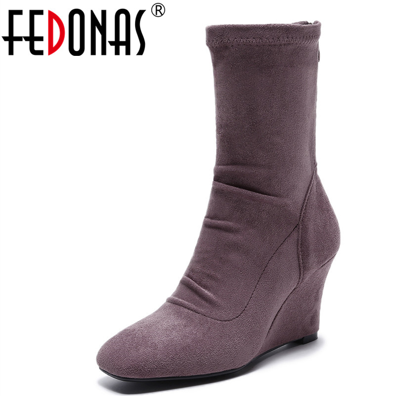 FEDONAS Women's Mid-calf Boots Square Toe Elastic High Boots Wedges High Heels Autumn Winter Shoes Woman Female Socks Boots gaozze fashion women socks boots mid calf thick high heels boots women comfortable elastic knitted fabric female boots brand