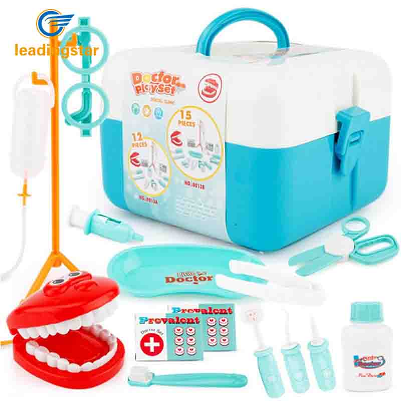 LeadingStar 15Pcs/set Doctor Series Play Set Children Simulation Dental Clinic Medical Kit Kids Educational Toy zk30 simulation mini golf course display toy set with golf club ball flag