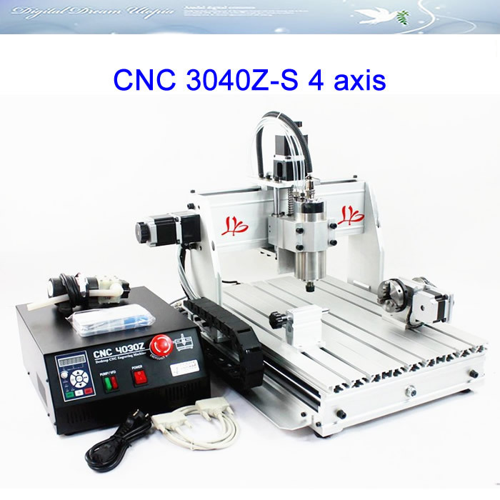 Free shipping to Russia,no tax ! 4 Axis CNC 3040Z-S cnc router with 800w spindle motor,CNC 3040 engraving machine,wholesale!!! cnc 3040z s 3 axis mini cnc router with 800w vfd water cooled spindle engraving lathe machine free tax to eu