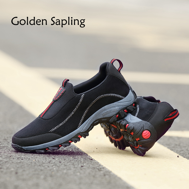 Golden Sapling Running Shoes for Men Breathable Leather Men's Sneakers Outdoor Men's Sport Shoes Waterproof Rubber Male Sneakers peak sport speed eagle v men basketball shoes cushion 3 revolve tech sneakers breathable damping wear athletic boots eur 40 50