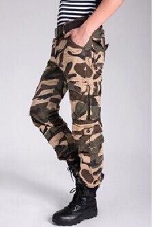 Военные печатные тренировочные брюки зимние мужские брюки-карго Теплые повседневные мешковатые штаны - Цвет: Хаки