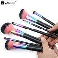 Vander Rainbow Pincéis de Maquiagem 7 pcs Jogo de Escova de Cobre Cosméticos Kabuki Fundação/pó/corretivo/cônico/mistura/Kits de eyeliner