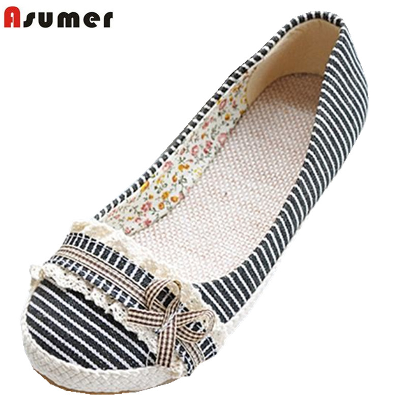 ASUMER Big size 34-43 NEW fashion simple women Loafers round tos solid color summer flats sweet bowtie flat shoes woman plus size 34 41 black khaki lace bow flats shoes for womens ds219 fashion round toe bowtie sweet spring summer fall flats shoes