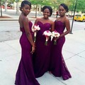Custom Made Off The Shoulder Purple Mermaid Lace african Bridesmaids Dresses For Wedding Party Gowns