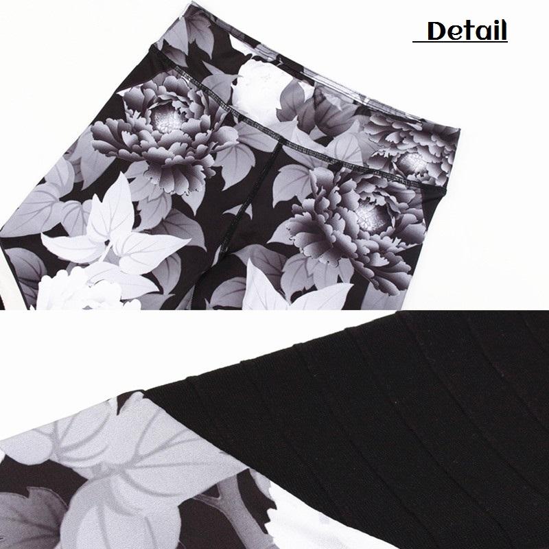 Leggings patchwork, motifs fleuris noir et blanc, détails