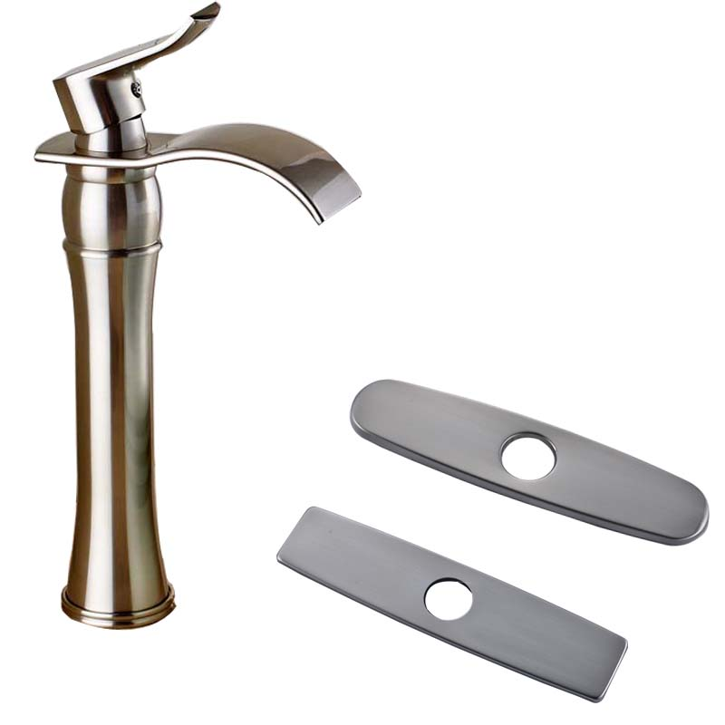 Brushed Nickel Waterfall Countertop Bathroom Basin Faucet Deck Mounted Mixer Water Crane 10 Hole Cover Plate