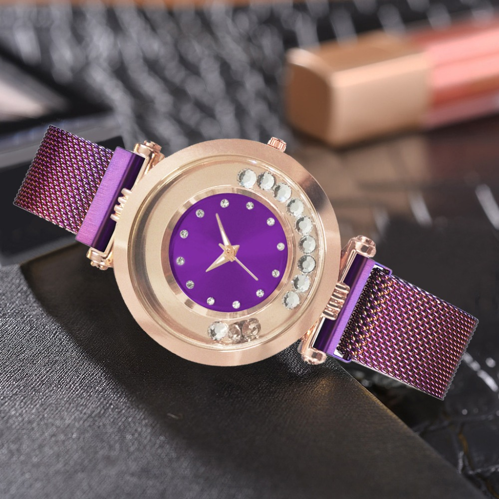Luxury Rose Gold Women Watches Fashion Creative Ladies Dress Quartz Clock Pink Dial Diamond Magnetic Female Wristwatch Gift 2019 in Women 39 s Watches from Watches