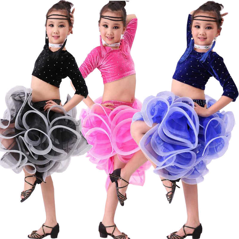23df50666 Children Stage wear Performance Dress Girls Costumes Latin Dance Dress  Sequins Kids Latin Salsa Dresses Samba