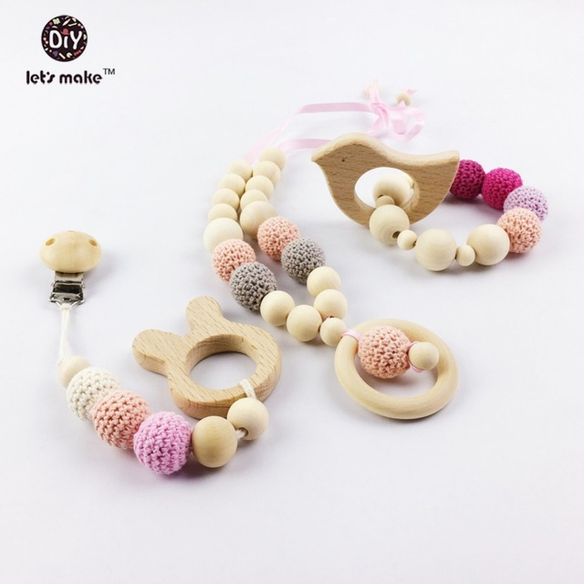 wooden Baby Teether animal Shaped teether Pacifier Clip Eco-friendly clip chewable Beads wooden teether Baby Bracelet