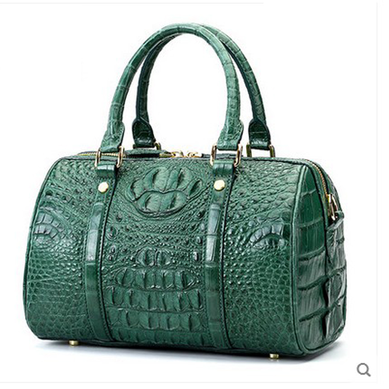 hlt crocodile skin Women's handbag 2017 new crocodile leather women boston bag of leather handbag of women in Boston leather bag dadi1 dadi hlt 102