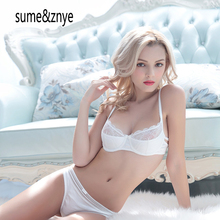 women underwear red Sexy Slim translucent thin cup cotton lining bra set lingerie ladies bra and panties set 32 34 36 38 BCD cup