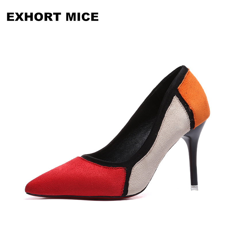 2018 Zapatos Mujer Pointed Toe Thin High Heels Sandals Mixed Color Single Shoes Woman  Stiletto Dress Women Pumps  Flock choudory high heels woman pumps spring autumn flower decoration woman shoes attractive flock pointed toe party zapatos mujer