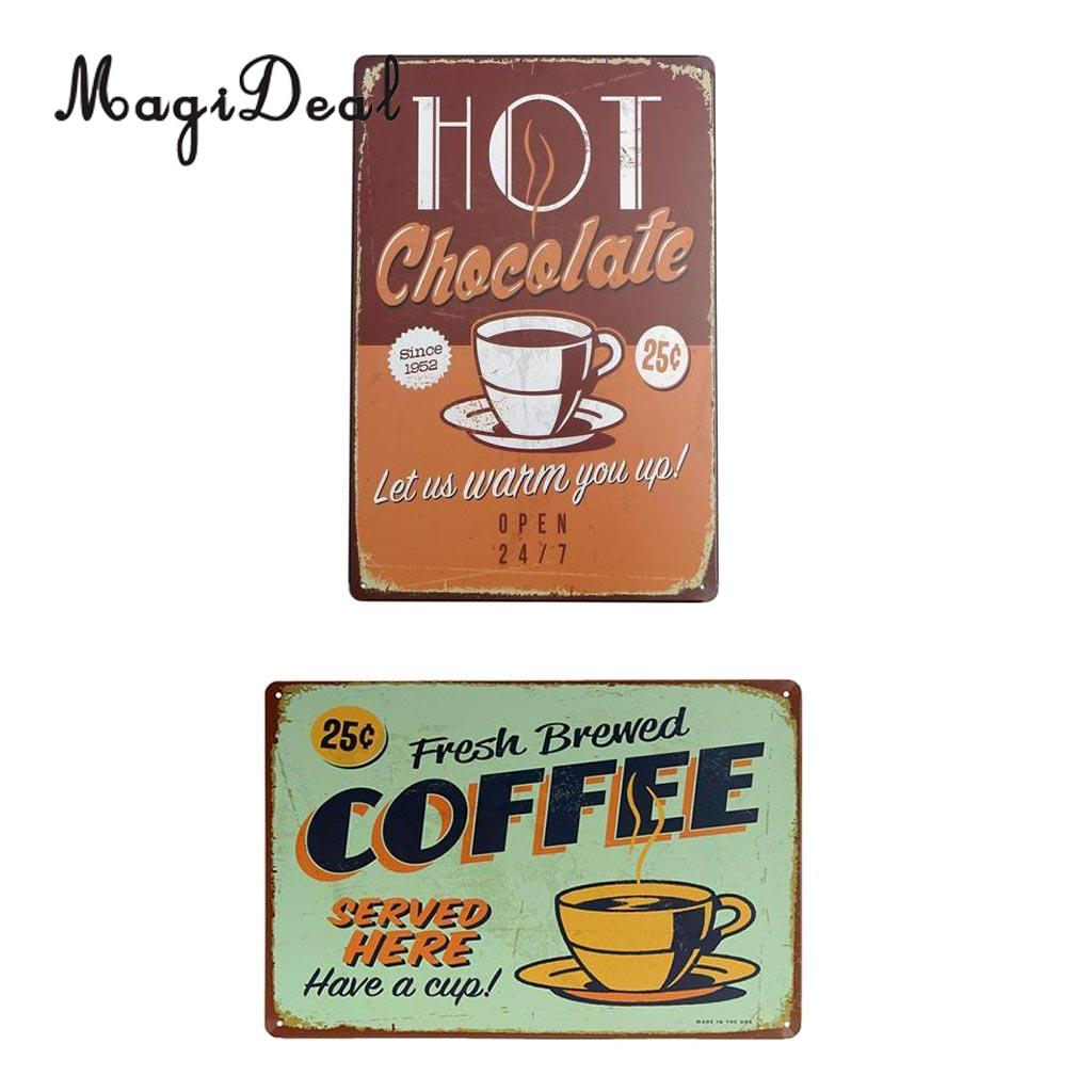 Vintage Metal Tin Sign Cafe Art Wall Plaque Poster HOT Chocolate OPEN sign