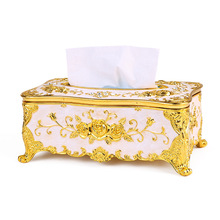 Fashion Europe Style Tissue Box For Paper Towel Storage Boxes Container Napkins Cover Holder Royal Style Napkin Boxes Square