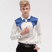 fanzhuan Free Shipping New fashion personality male Men's male Court men Slim type Satin shirt sleeved dress shirt 14275 groom