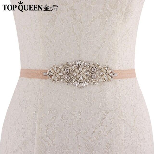 TOPQUEEN SJD-S76 Bridal Sash with Pearls Rhinestones Wedding Accessories Wedding  Belts Sashes Bridal Elastic Belt f59710d8a055