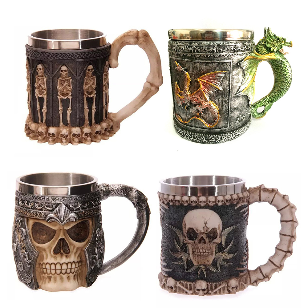 Personalized Double Wall Stainless Steel 3D Skull Mugs Coffee Mug Skull Knight Tankard Dragon Drinking Cup