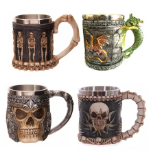 Personalized Double Wall Stainless Steel 3D Skull Mugs Coffee  Mug Skull Knight Tankard Dragon Drinking Cup  for  Halloween gift