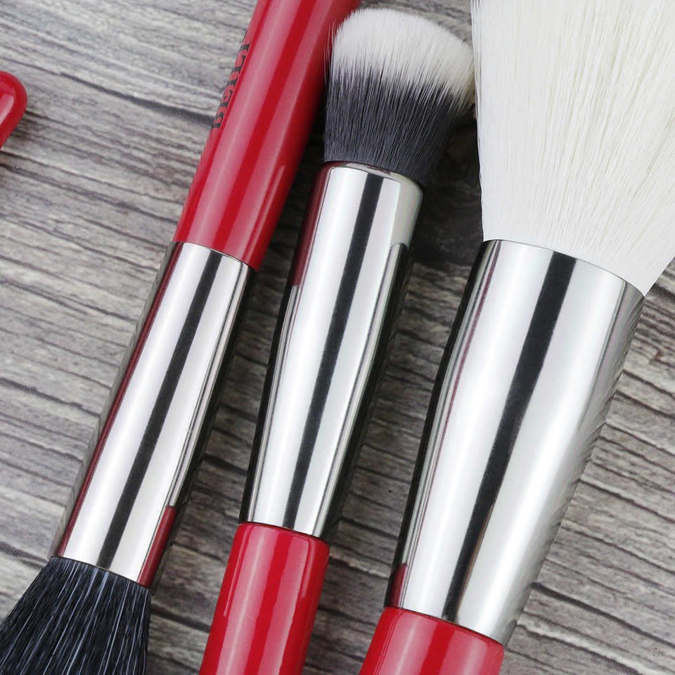 Image 5 - BEILI Red 24pcs Professional Makeup Brushes Set Natural Hair Powder Cream Foundation Blusher Eye blending brow Lip Eyeliner-in Eye Shadow Applicator from Beauty & Health