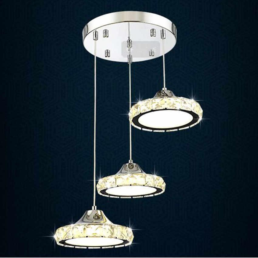 Модный светодиодный светильник для ресторана, хрустальные люстры для ресторана, три Современные Простые круглые люстры для гостиной, столовой, барного стола, столовой