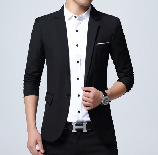 Korean Style Men Business Casual Slim Fit Blazer Homme Plus Size Mens Black Blue Red Grey Suit Jacket M-4XL 5XL