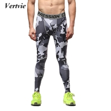 Vertvie Men's Elastic Camouflage Running Leggings Comfotable Pants Smooth Gym Tights Quick Dry Soft Pant Breathable New Legging
