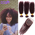 peruvian virgin hair with closure 99j kinky curly virgin hair with closure lace closure with bundles kinky curly virgin hair