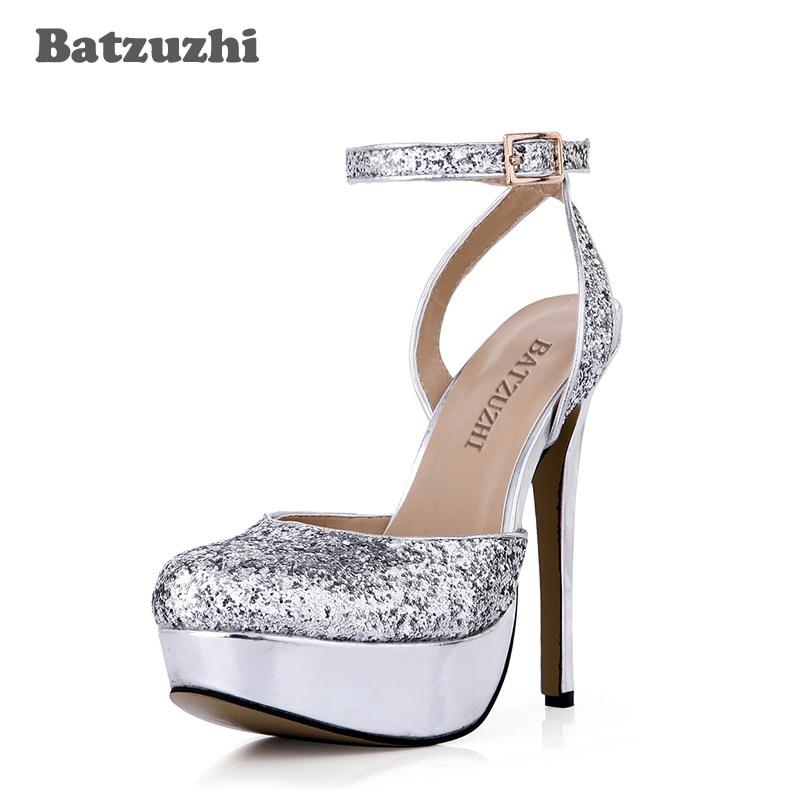 bdd87481 Batzuzhi 2018 moda 14 cm hecho a mano zapatos de mujer bombas verano plata  brillo boda