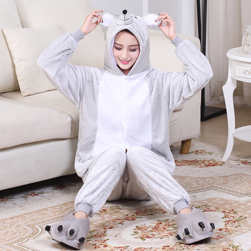Gray Mouse Kigurumi Unisex Kigurumi Women Men Couple Onesie Winter Funny Pajama Flannel Warm Soft Animal Overall Girl Party Suit