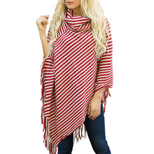 Fashion Black and White Striped Shawl Autumn Loose Knitted Sweater Women's Tassel Cloak Top Poncho High Collar Full Sleeves black chiffon loose bat sleeves cape shawl top
