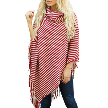 Fashion Black and White Striped Shawl Autumn Loose Knitted Sweater Women's Tassel Cloak Top Poncho High Collar Full Sleeves цена 2017