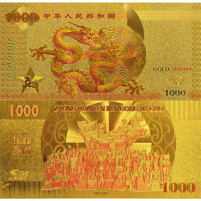 US $1 78 11% OFF|WR Metal Gold Foil Banknote With Chinese Dragon Design  Fake China Currency Bill RMB 1000 For Money Collection-in Gold Banknotes  from