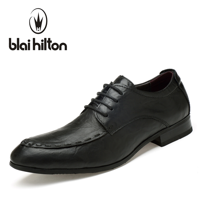 цена Blaibilton Genuine Leather Formal Shoes Suit Luxury Men Shoes Casual Oxford Classic Male Elegant Office Business Dress SD1618 онлайн в 2017 году