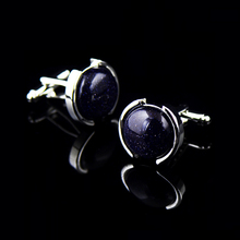 Bridegroom Wedding Business Men French Shirts Cuff Links Navy Blue Sequin Glaze Glass Cufflinks Silvery Cufflink With Gift Bag circle milestone steel varnish baking cufflinks for men silvery blue pair