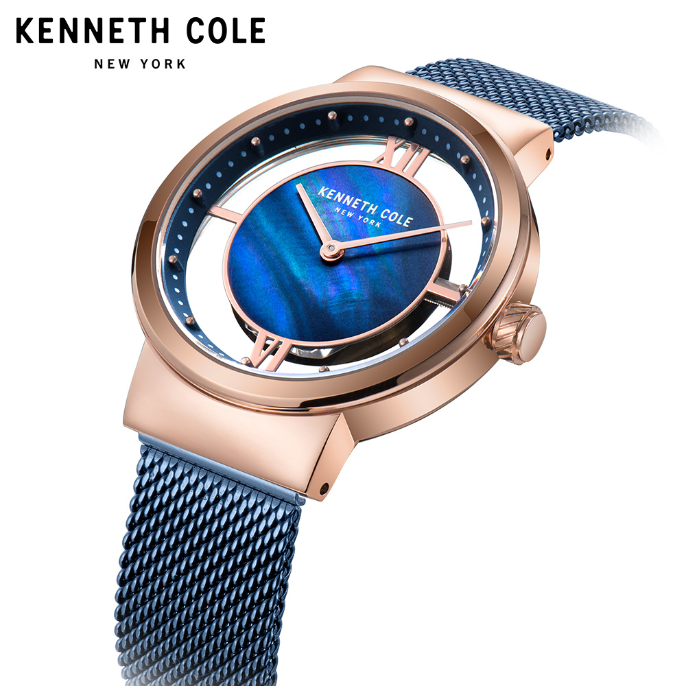 Kenneth Cole 2018 Womens Watches Quartz See through Simple Stainless Stee Rose Gold Bracelet Strap Waterproof Watches KC50231002