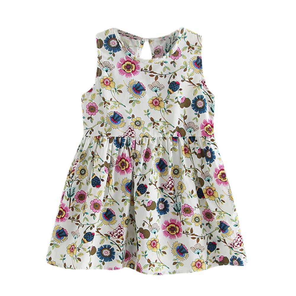 Летние платья без рукавов с круглым вырезом и цветочным принтом для маленьких девочек, платье принцессы вечерние детский пляжный сарафан на свадьбу для маленьких девочек