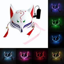 Fox Upper Half Face Neon Mask Light Led Mask Halloween Party Masque Masks Glow In The Dark Horror Mask Glowing Masker Purge glow in the dark halloween jason damaged face mask green