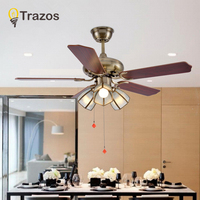 Fan ceiling 42 Inch European Retro Ceiling Fans With grass Restaurant Living Room Bedroom Ceiling Light Fan 220 Volt Fan Lamp