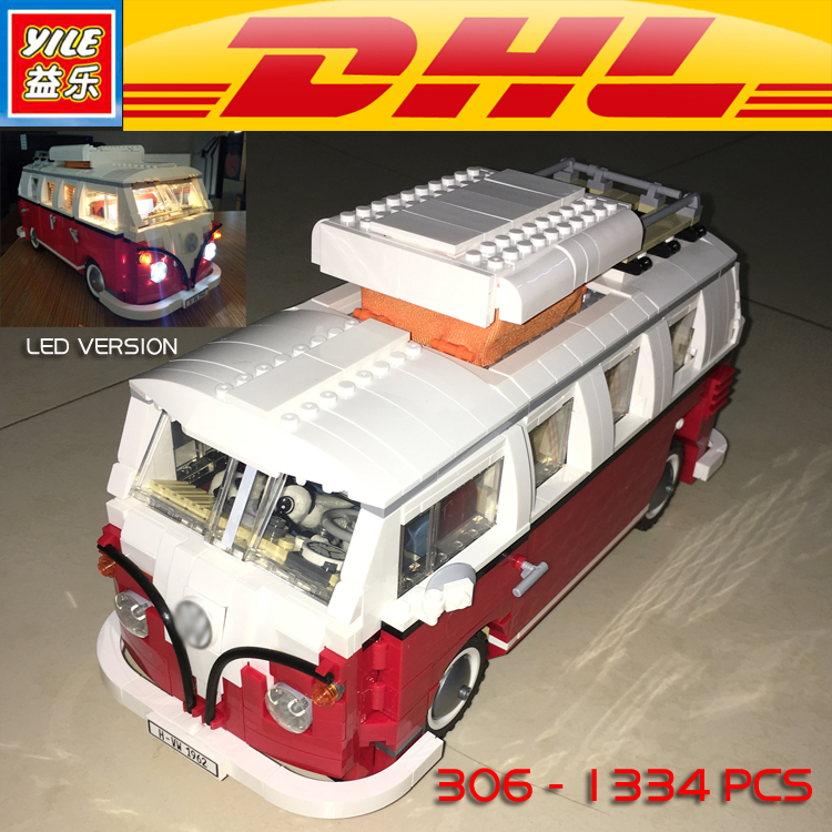 Yile 306 Creator Volkswagenn LED Light Up T1 Camper Van Building Blocks 10220 technic bricks action figure car toys for children new lepin 20054 4237pcs creator camper van model building kits bricks toys compatible gifts 10220