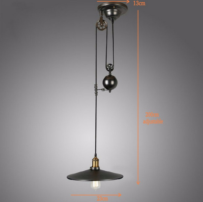 Vintage Iron Loft Industrial American Style Pulley Pendant Light Adjustable Wire Lamp Retractable Bar Light Edison Bulb