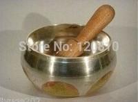 AA88 hermoso cuenco tibetano de canto plateado asiático tibetano de cobre chapado en oro|bowl 2|bowl fountain|bowl decor -