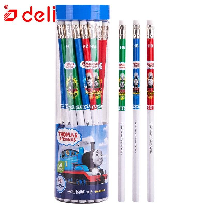 Deli 30pcs/box Pencil Student Stationery Wooden Pencil Set Cute Thomas Children Gift Standard Pencil School & Office Supplies
