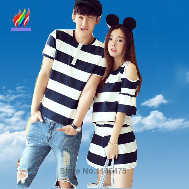 bec11edc49b0 Summer Couples Lovers Clothes Cute Sweet Tops Hollow Out Off Shoulder  Striped Girl Two Piece Matching Couple T Shirt